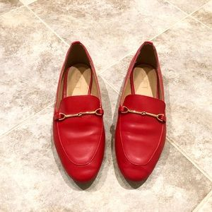 Ann Taylor red loafers flats size 7